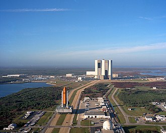 Kennedy Space Center - Shuttle Atlantis is moved to Pad 39A for the 1990 launch of STS-36.