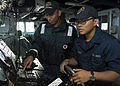 Sailors train aboard USS Mustin. (10310762374).jpg