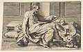 Saint Mark writing his Gospel, a winged lion at the right MET DP812427.jpg