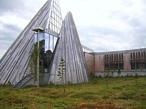 Lavvu - The lavvu inspired shape of the Sámi Parliament building in Kárášjohka (Karasjok), Norway in 2005.