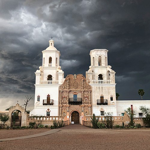 Mission San Xavier del Bac in overcast weather, by Keyany.