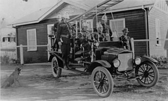 Sandgate, Queensland - Sandgate Fire Brigade outside the fire station in 1923