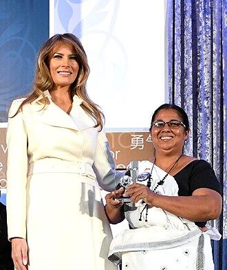 Sandya Eknelygoda - Sandya Eknelygoda with Melania Trump at the International Women of Courage Award 2017