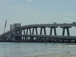 Sanibel Causeway - The old drawbridge next to the current Bridge A as seen prior to demolition
