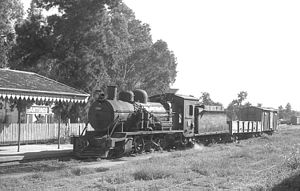 Central Northern Railway - Steam locomotive at Santiago del Estero station, 1975.
