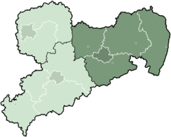 Map of Saxony highlighting the former Direktionsbezirk of Dresden