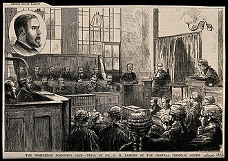 George Henry Lamson - Scenes from the trial, wood engraving.