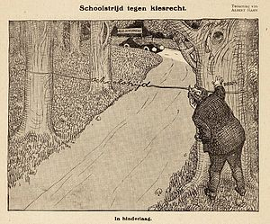 School struggle (Netherlands) - Cartoon by Albert Hahn, suffrage (in the car) versus School Struggle (the line across the road). The name Bram of the person at the tree stands for Abraham Kuyper