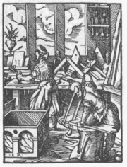 Woodworking shop in Germany in 1568, the worker in front is using a bow saw and the one in the background is planing