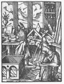 Un laboratorio di falegnameria in un'incisione del XVI secolo