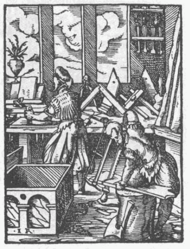 Woodworking shop in Germany in 1568, the worker in front is using a bow saw, the one in the background is planing. Schreiner-1568.png