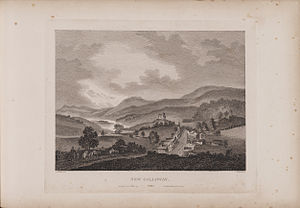 New Galloway - Engraving of a view of New Galloway by James Fittler in Scotia Depicta, published 1804