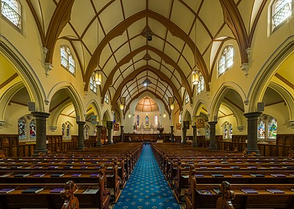 The interior of Scots' Church, Melbourne, Australia, as viewed from the rear of the church looking toward the altar.