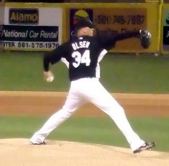 Scott Olsen - Olsen pitching for the Marlins on February 27, 2007.