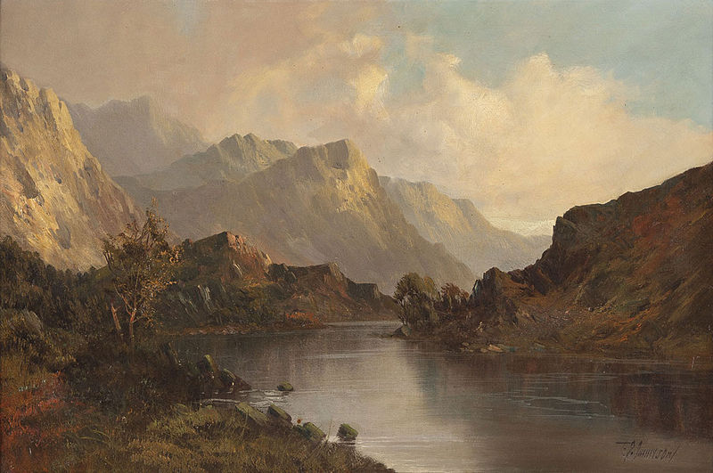 File:Scottish painter - Scottish lake landscape in front of mountains.jpg
