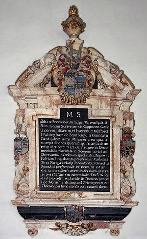 Egerton Bagot Byrd Levett-Scrivener - Monument to John Scrivener of Sibton Abbey, St Peter's Church, Sibton, Norfolk