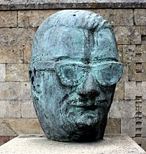 Sculpture of the Celso Emilio Ferreiro head in Celanova, Ourense, Galicia.jpg