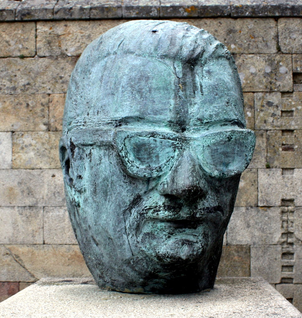 Sculpture of the Celso Emilio Ferreiro head in Celanova, Ourense, Galicia