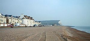 Seaford, East Sussex - Seaford Beach with Seaford Head in the background.