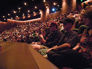 Seattle Repertory Theatre - The balcony of the Bagley Wright Theatre during Bumbershoot 2008.
