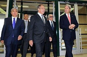 Kassym-Jomart Tokayev - Kassym-Jomart Tokayev with Sergey Lavrov and John Kerry on 13 September 2013