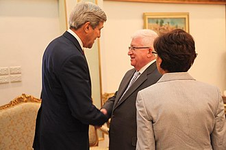 Fuad Masum - Masum with US Secretary of State John Kerry at the United Nations headquarters, New York City (September 2014)
