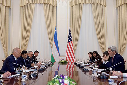 President Islam Karimov with U.S. Secretary of State John Kerry in Samarkand in November 2015 Secretary Kerry Meets With President Karimov at the President's Residential Compound in Samarkand (22052330394).jpg