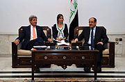 Secretary Kerry Sits With Iraqi Prime Minister al-Maliki Before Meeting in Baghdad June 2014