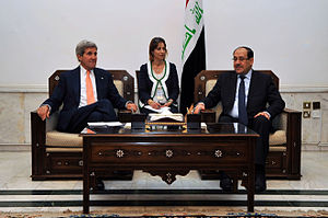 Timeline of the Iraq War (2014) - US Secretary of State John Kerry and Iraqi Prime Minister Nouri al-Maliki in Baghdad on 23 June 2014