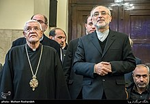 Sepuh Sargsyan, archbishop of the Armenian Diocese of Tehran visit AliAkbar Salehi head of Atomic Energy Organization of Iran at Tehran Prelacy 08.jpg