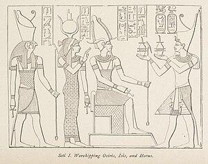 English: A pharaoh worshipping three Egyptian ...