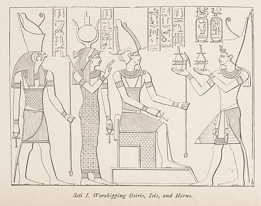 Seti I. Worshipping Osiris, Isis, and Horus. (1884) - TIMEA