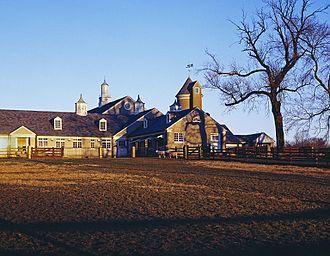 Erdenheim Farm - Sheep barn (built c. 1917), Erdenheim Farm, Whitemarsh Township, Pennsylvania. Looking north from Flourtown Road.