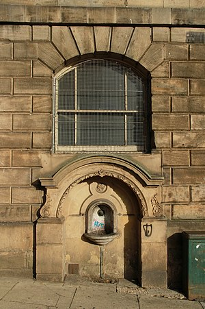 Sheffield Old Town Hall - Drinking fountain in Castle Street added in 1897