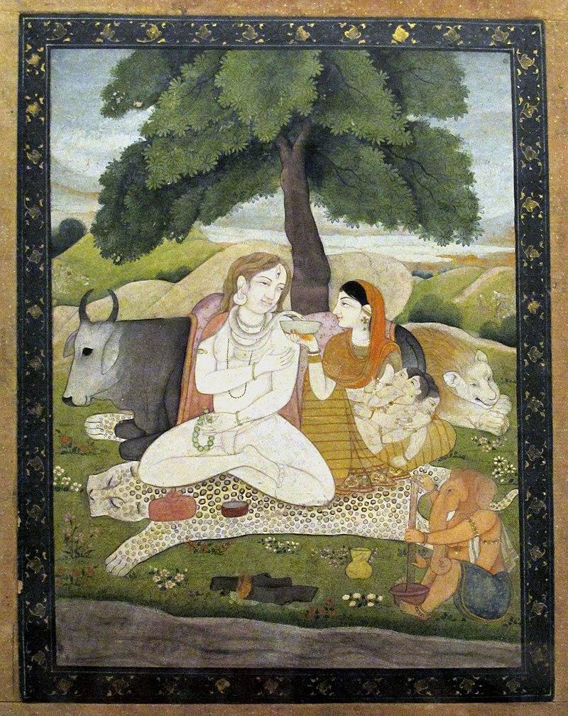 Shiva and his family, Pahari, Late 18th cent..JPG