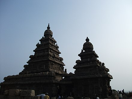 The Shore Temple, a UNESCO World Heritage Site on the shore of the Bay of Bengal Shore Temple on Bay of Bengal.jpg