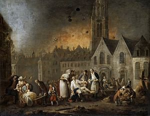 Siege of Landrecies (1794) - Scene by Louis Joseph Watteau from the  siege of Lille in 1792, which resembles what Landrecies must have looked like.