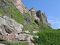 Sidewards upward view of Bamburgh Castle - geograph.org.uk - 950443.jpg