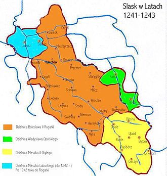 Mieszko, Duke of Lubusz - Silesian duchies in 1241-1243, Mieszko's Duchy of Lubusz in blue