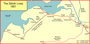 Carlisle and Silloth Bay Railway - The Silloth lines in 1861 after the connection with the Waverley route