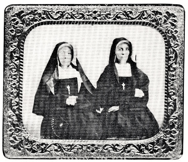 Black and white photograph of two nuns in habit