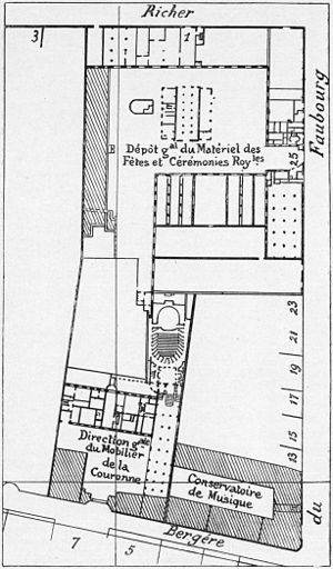 Conservatoire de Paris - Site plan (1836) of the Menus-Plaisirs, the Concert Hall, and the Conservatoire