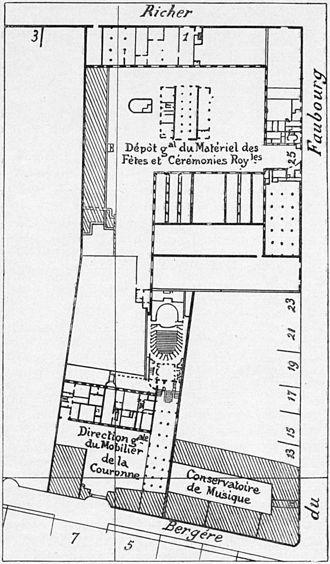 Conservatoire de Paris - Site plan (1836) of the Menus-Plaisirs, the Concert Hall, and the Conservatoire