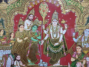 Kalyanasundara - A complete Kalyanasundara scene where Parvati's parents are giving her away as Vishnu and Lakshmi (extreme right) look on.