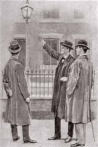 The Adventure of the Six Napoleons - Holmes pointing to a street lamp, 1904 illustration by Sidney Paget
