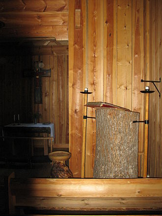 Skaga stave church - The pulpit is made of a single trunk.