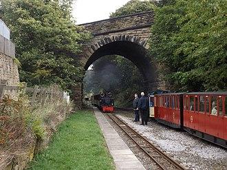 Skelmanthorpe railway station - Skelmanthorpe Station. The bridge carries Station Road over the Kirklees Light Railway.