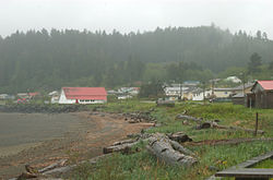 View of Skidegate from outside the Haida Heritage Centre.