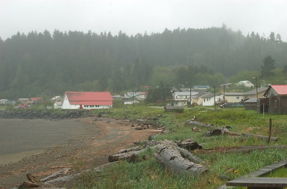 View of the Kay Llnagaay beach in Skidegate.