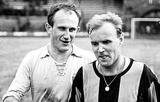 Lennart Skoglund - Lennart Skoglund (right) playing for Hammarby in a game against Malmö FF at Stockholms Stadion on 19 April 1965. The opponent Ingvar Svahn (left) is also pictured.